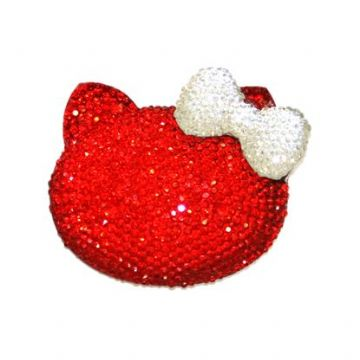 1piece x 54mm*44mm*10mm Diamond acrylic flat back red colour bonjour kitty head with clear bow -- DAFB-BK02